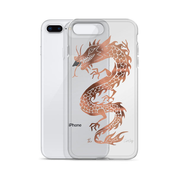 Chinese Dragon – Rose Gold Palette • iPhone Case (Transparent)