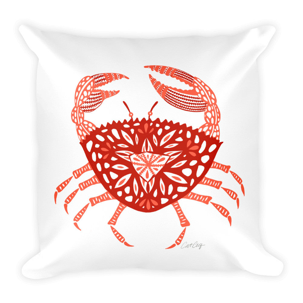 Crab – Red Palette  •  Square Pillow