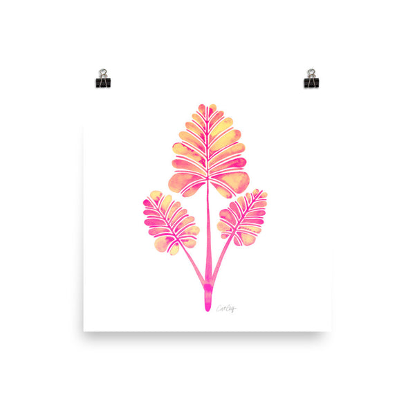 Palm Leaf Trifecta – Pink Palette • Art Print