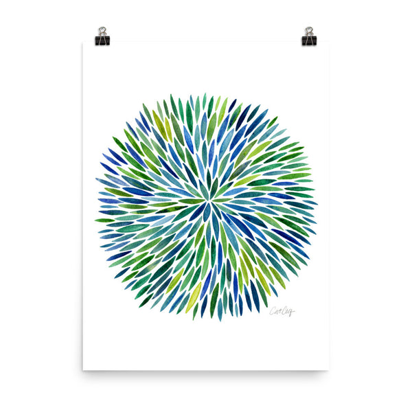 Watercolor Burst – Blue/Green Palette • Art Print