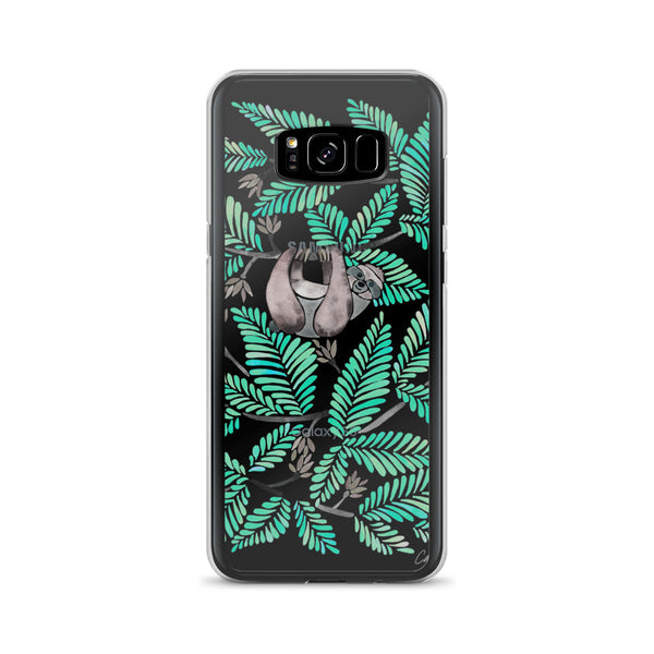 Happy Sloth – Tropical Mint Rainforest • Samsung Case (Transparent)