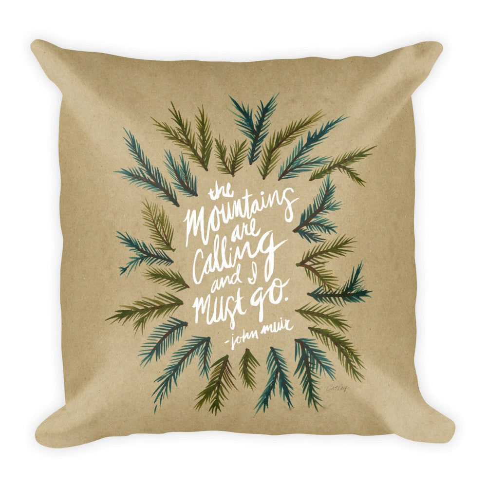 Mountains are Calling – Kraft Palette • Square Pillow