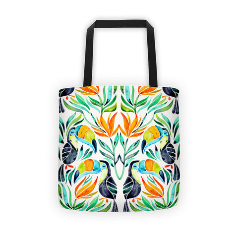 Tropical Toucans – Green Leaves  •  Tote Bag