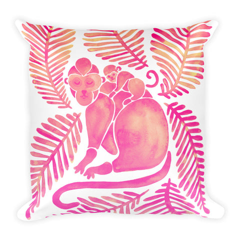 Monkeys – Pink Palette • Square Pillow