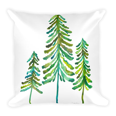 Pine Trees – Green Palette • Square Pillow