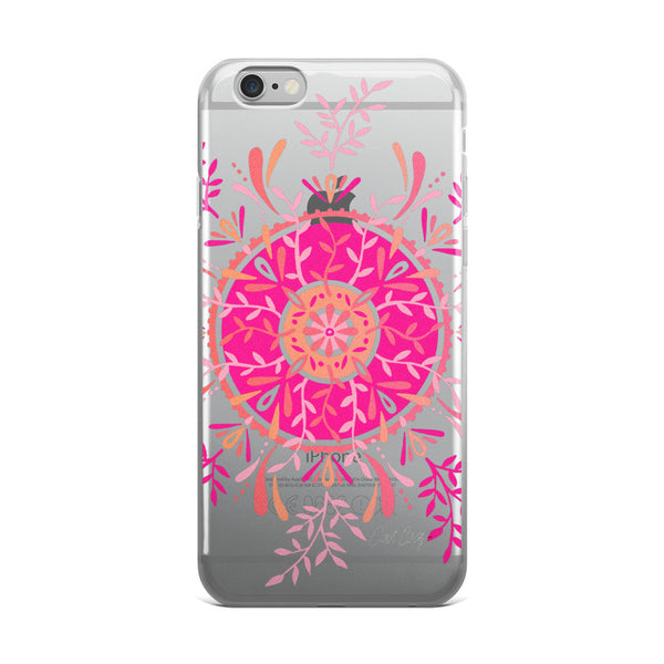 Leaf Mandala – Pink Palette  •  iPhone 5/5s/Se, 6/6s, 6/6s Plus Case (Transparent)
