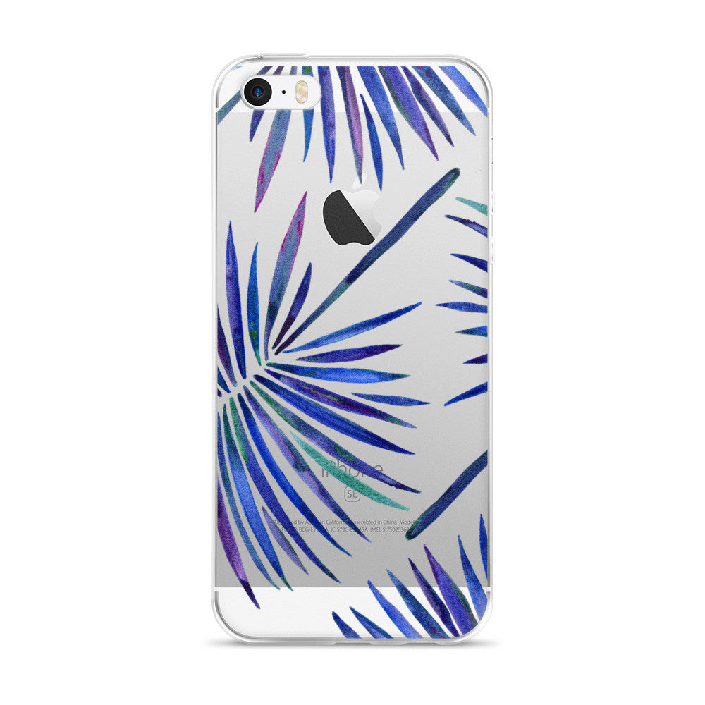 Fan Palm – Indigo Palette  •  iPhone 5/5s/Se, 6/6s, 6/6s Plus Case (Transparent)