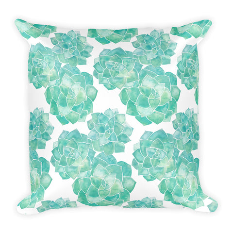 Rosette Succulents – Mint Palette • Square Pillow