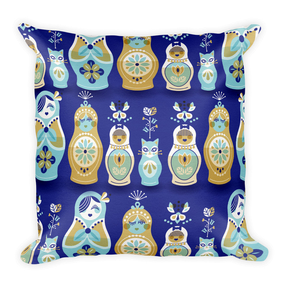 Russian Nesting Dolls – Navy Background  •  Square Pillow