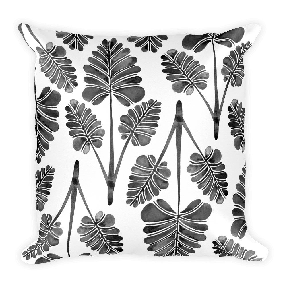 Palm Leaf Trifecta – Black Palette • Square Pillow