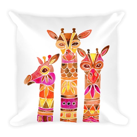 Giraffes – Fiery Palette • Square Pillow
