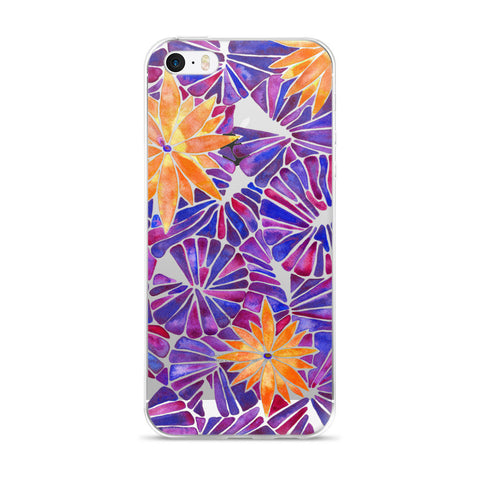 Water Lilies – Orange & Purple Palette  •  iPhone 5/5s/Se, 6/6s, 6/6s Plus Case (Transparent)