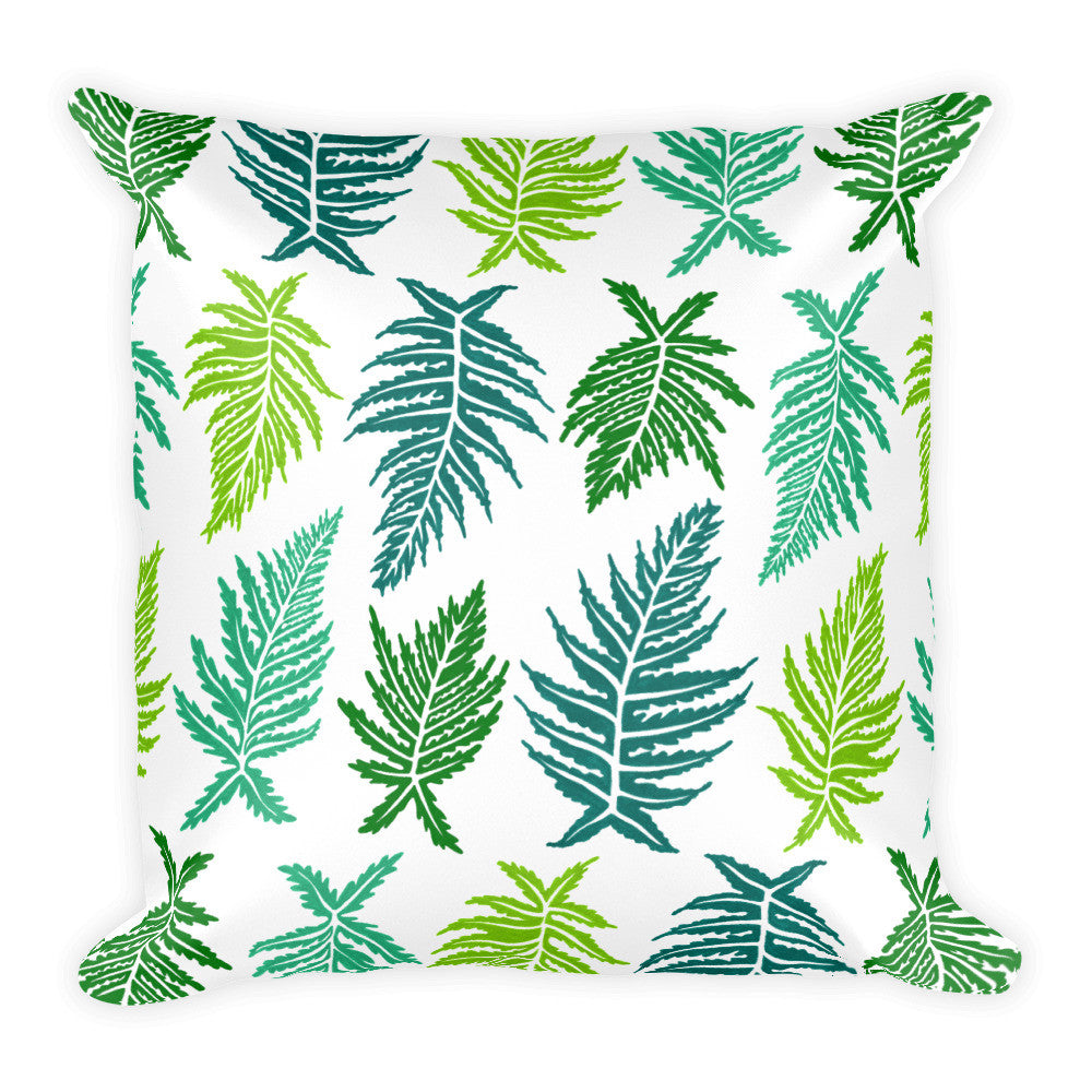 Inked Ferns – Green Ombré Ink • Square Pillow
