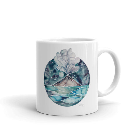Stromboli Volcano at Midnight – Blue Palette • Mug