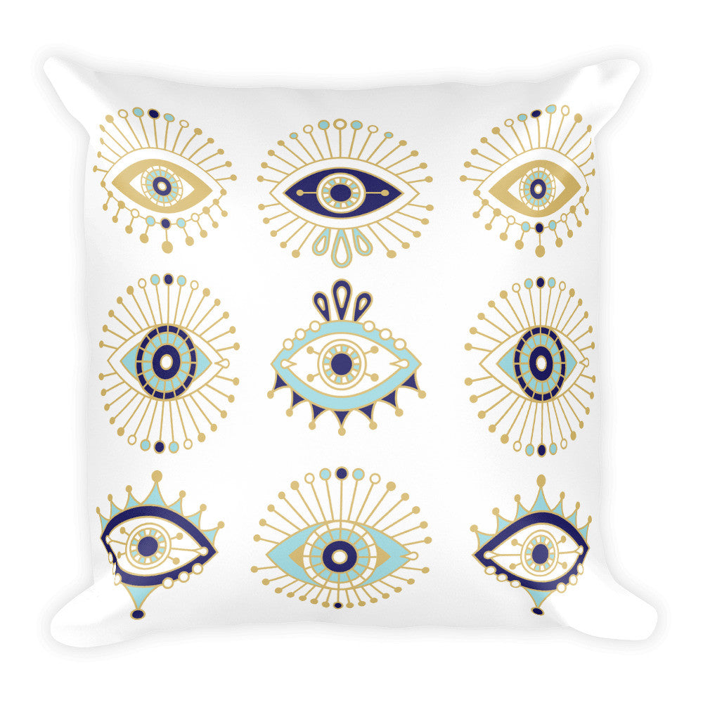 Evil Eyes – White Background  •  Square Pillow