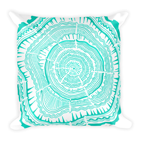 Tree Rings – Turquoise Palette • Square Pillow