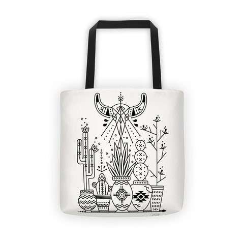 Santa Fe Garden – Black Ink  •  Tote Bag