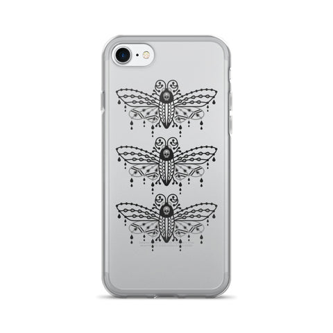 Death's Head Hawkmoth – Black Palette Trio • iPhone 7/7 Plus Case (Transparent)