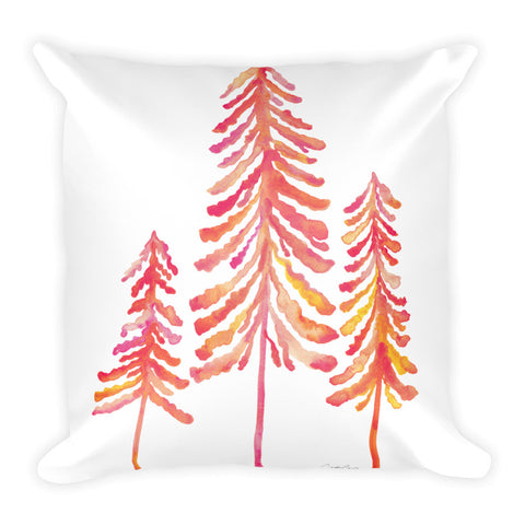 Pine Trees – Pink Ombré Palette • Square Pillow