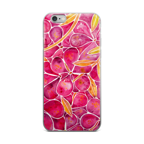 Orchid Wall – Fuschia & Yellow Palette  •  iPhone 5/5s/Se, 6/6s, 6/6s Plus Case (Transparent)