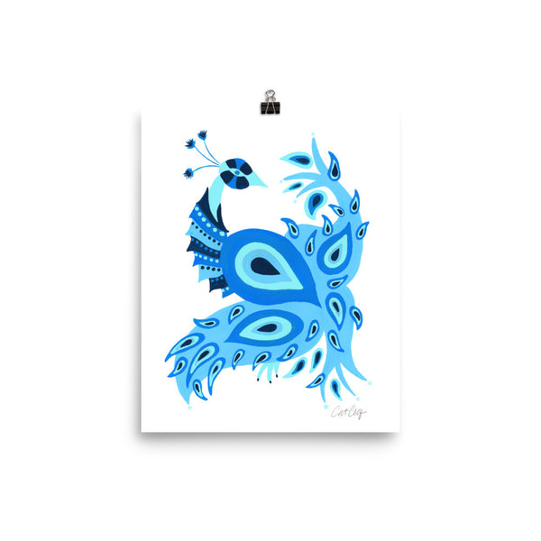 Peacock – Navy & Blue Palette • Art Print