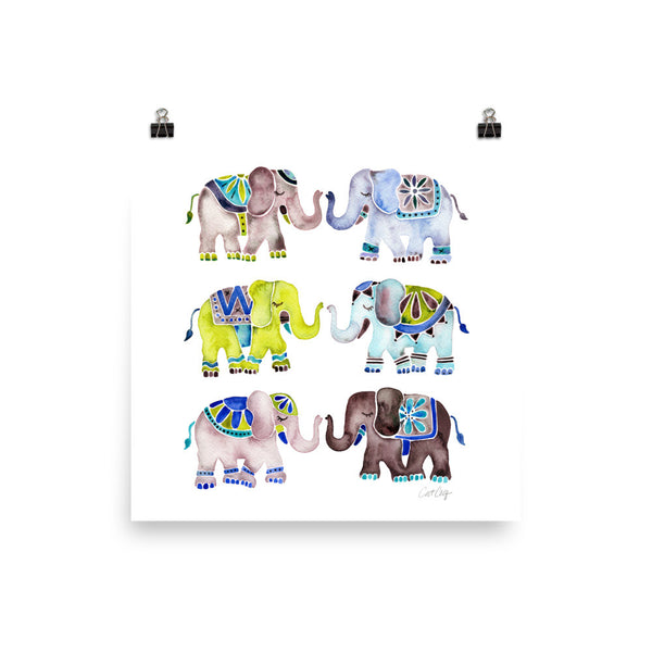 Elephant Collection – Cool Palette • Art Print
