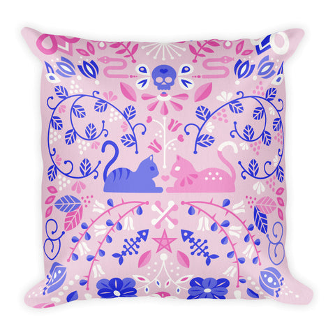 Kitten Lovers – Pink & Indigo Palette  •  Square Pillow