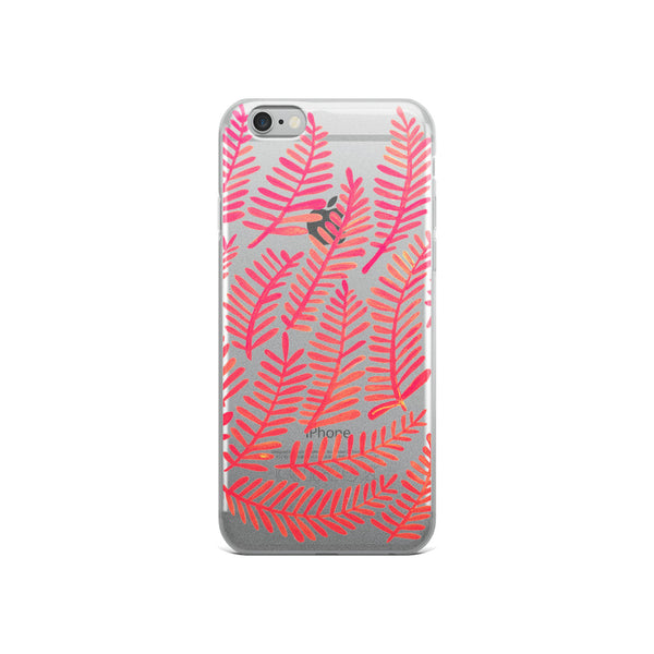 Fronds – Pink Palette • iPhone Case (Transparent)
