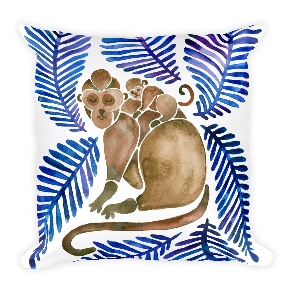 Monkeys – Navy Leaves • Square Pillow