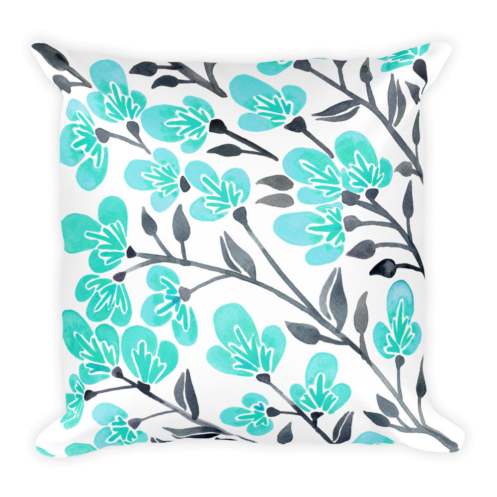 Cherry Blossoms – Turquoise & Grey Palette • Square Pillow