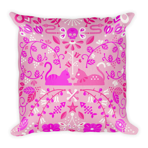 Kitten Lovers – Pink Palette  •  Square Pillow
