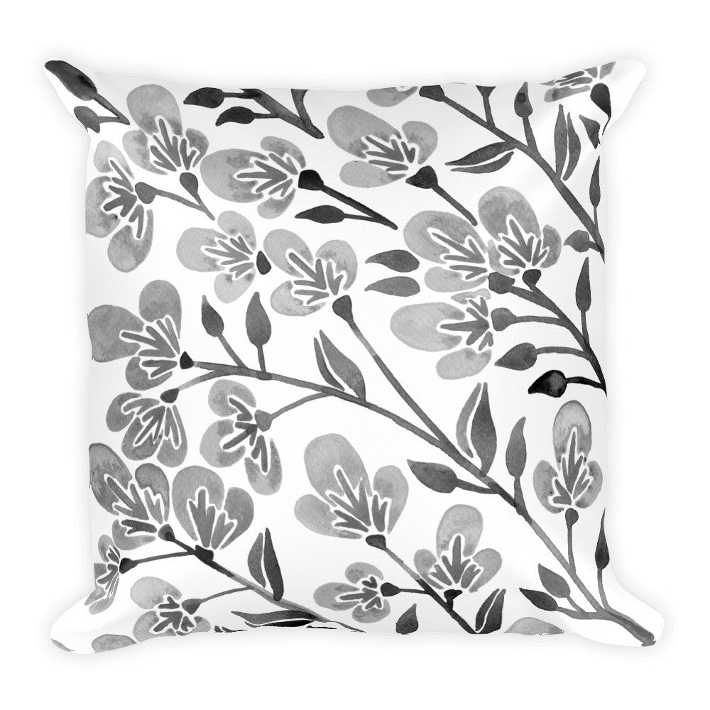 Cherry Blossoms – Grey Palette • Square Pillow