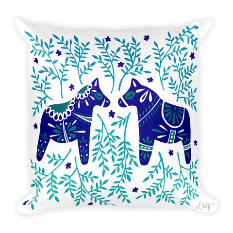 Swedish Dala Horses – Navy & Blue Palette  •  Square Pillow