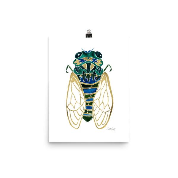Cicada – Green & Gold Palette • Art Print