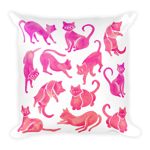Cat Positions – Pink Ombré Palette  •  Square Pillow