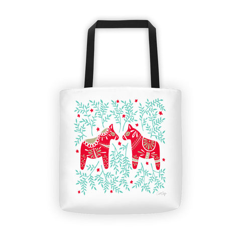 Swedish Dala Horses – Red & Mint Palette  •  Tote Bag