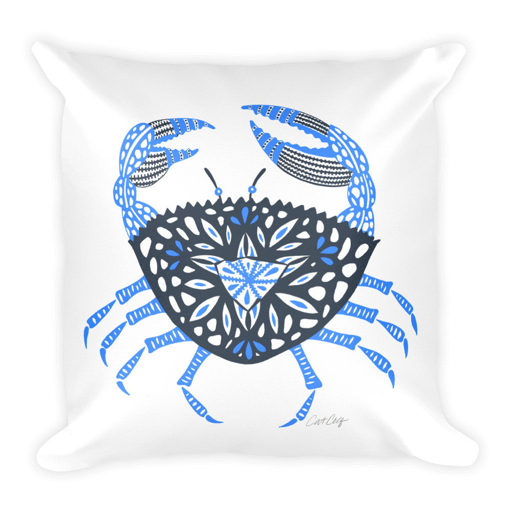Crab – Blue Palette  •  Square Pillow