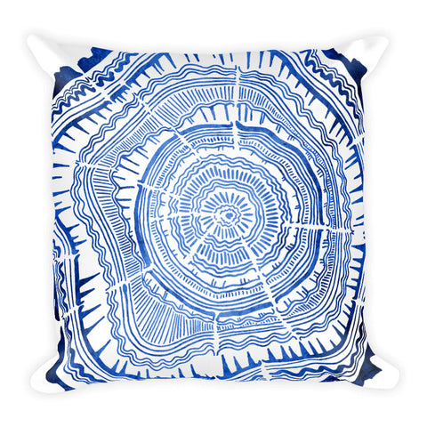 Tree Rings – Navy Palette • Square Pillow