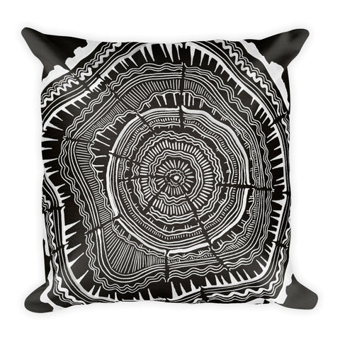 Tree Rings – White Ink on Black • Square Pillow