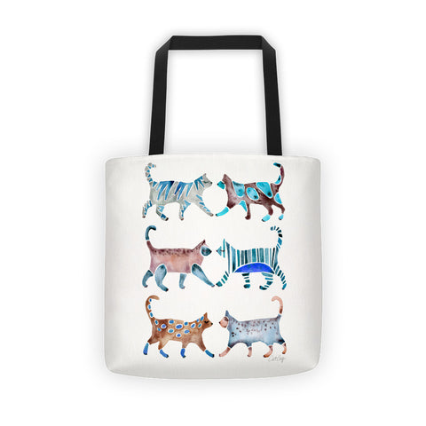 Cat Collection – Blue & Brown Palette  •  Tote Bag