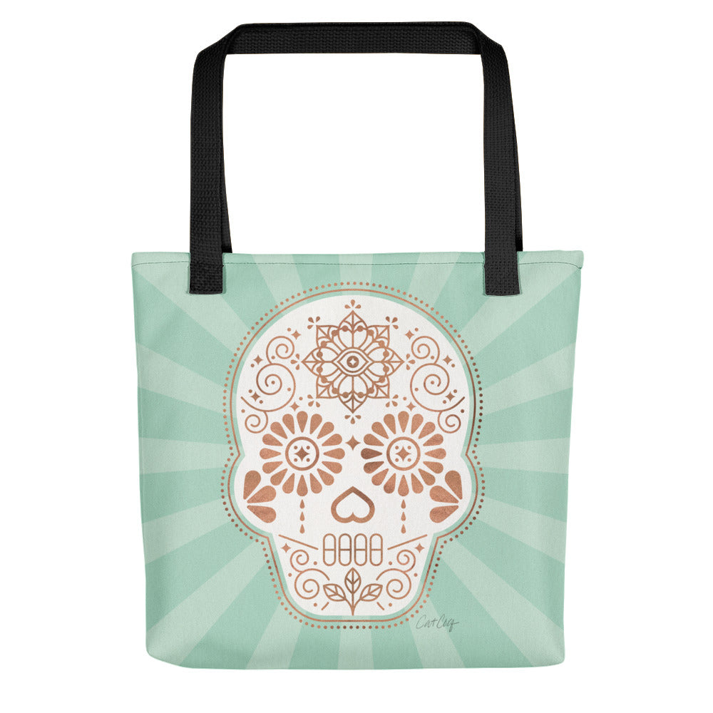 Día de Muertos • Mexican Sugar Skull – Mint & Rose Gold Palette • Tote Bag