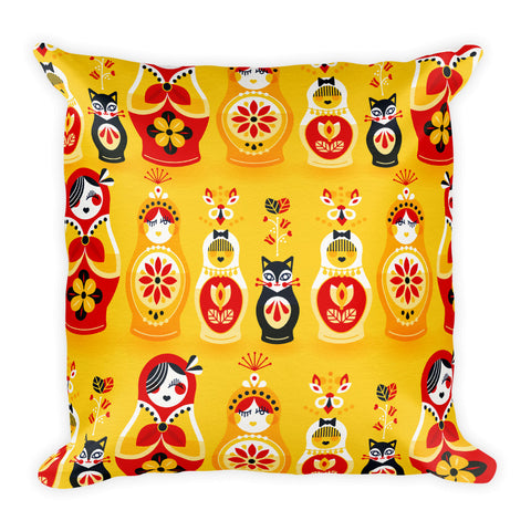 Russian Nesting Dolls – Cherry & Yellow Palette  •  Square Pillow