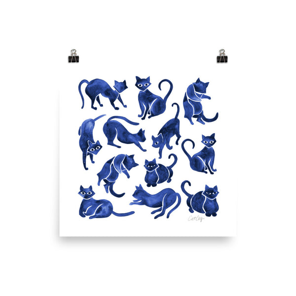 Cat Positions – Navy Palette • Art Print