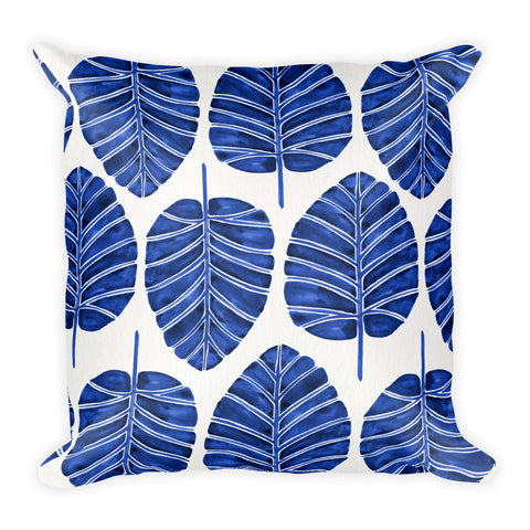 Elephant Ear Alocasia – Navy Palette  •  Square Pillow