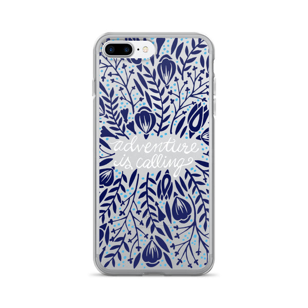 Adventure is Calling – Navy Palette • iPhone 7/7 Plus Case (Transparent)