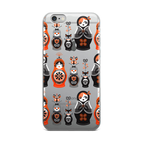 Russian Nesting Dolls – Red & Black Palette  •  iPhone 5/5s/Se, 6/6s, 6/6s Plus Case (Transparent)