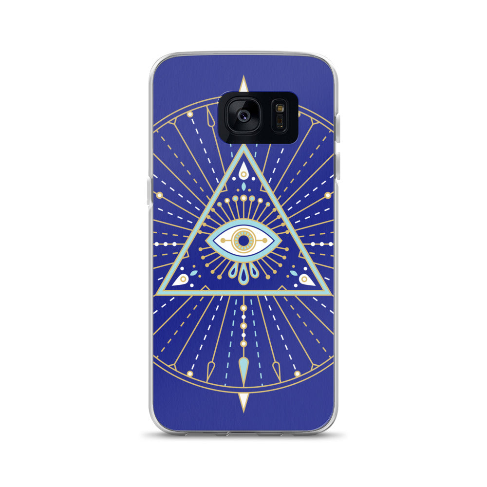 All-Seeing Eye Mandala – Navy Palette • Samsung Case