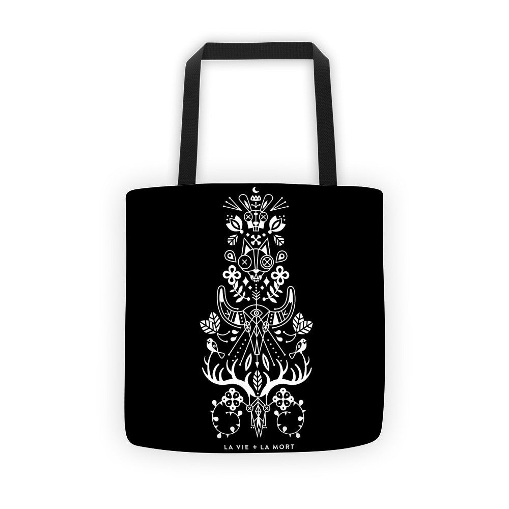 La Vie & La Mort – White Ink on Black Palette • Tote Bag