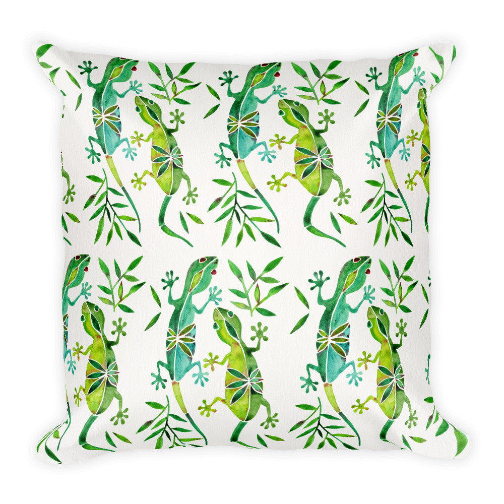 Geckos – Green Palette  •  Square Pillow