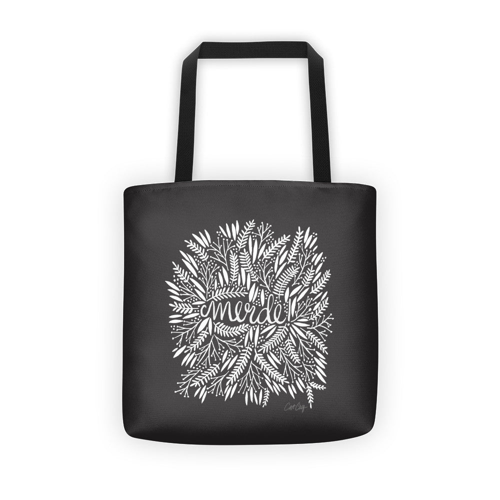 Merde – White Fronds on Black • Tote Bag